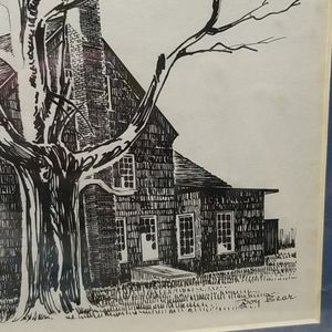 Wall Art - Ink Drawing Old House Matted Framed